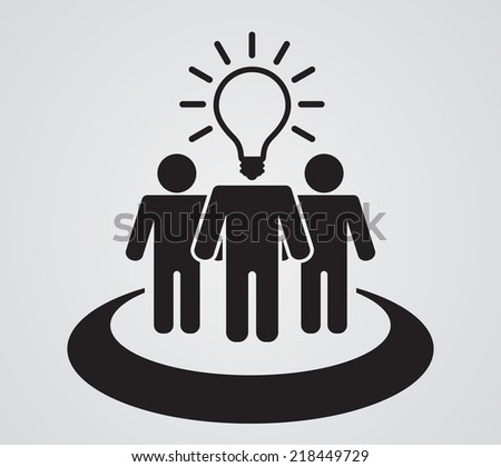 person teamwork with light bulb head - business concept - stock vector