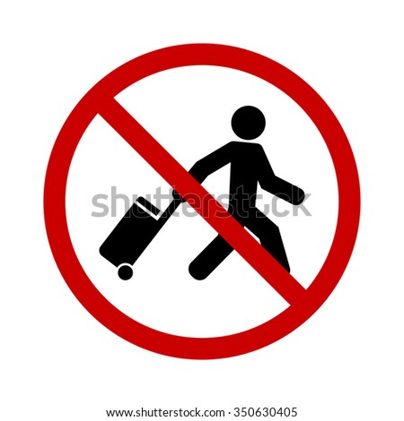 person traveler with bag stop sign icon - stock vector