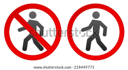 person walk warning stop sign icon - stock vector