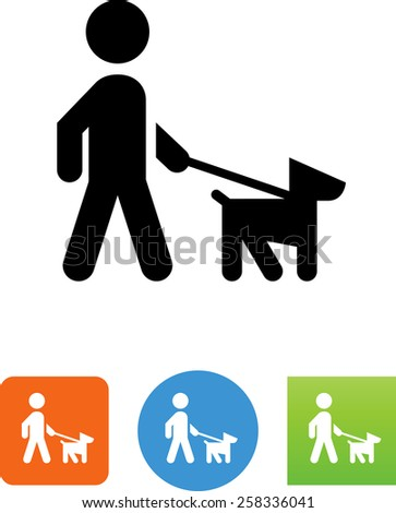 Person walking a dog on a leash symbol for download. Vector icons for video, mobile apps, Web sites and print projects.  - stock vector