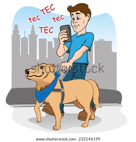 Person walking listlessly practically blinded by smart phone, and being guided by the blind dog as a visually impaired - stock vector