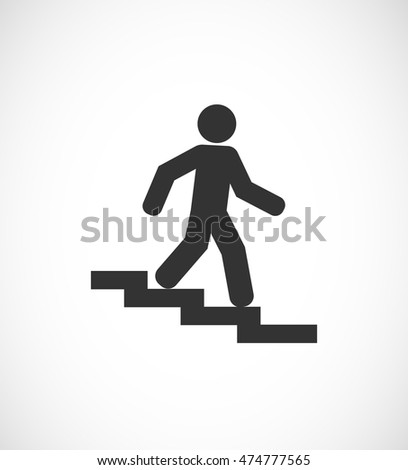person walks down the stair - sign icon