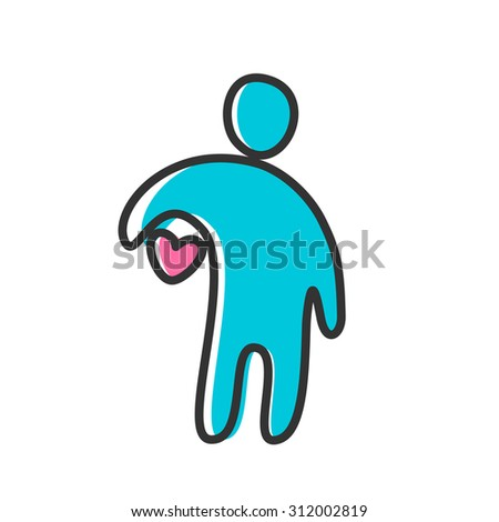 Person with a heart - the idea of a template logo or icon. - stock vector