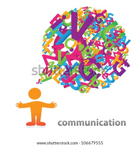 Person with a speech bubble of colored letters. The symbol of communication. - stock vector