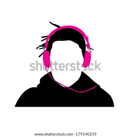 Person with headphones vector illustration - stock vector