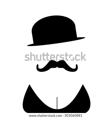 person with mustache and cleavage wearing vintage bowler hat - stock vector