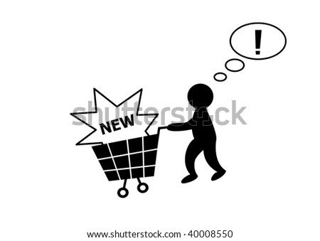 Person with shopping cart, successful purchase - stock vector