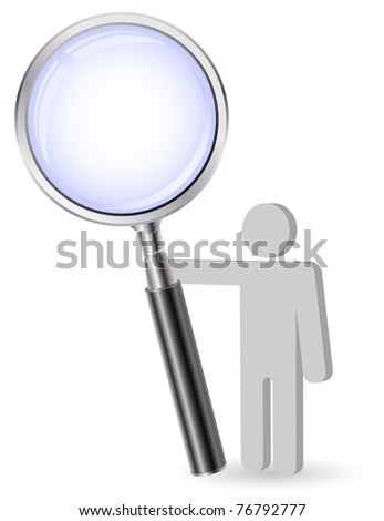 person with zoom glass - stock vector