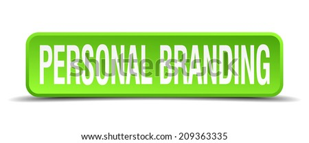 personal branding green 3d realistic square isolated button - stock vector