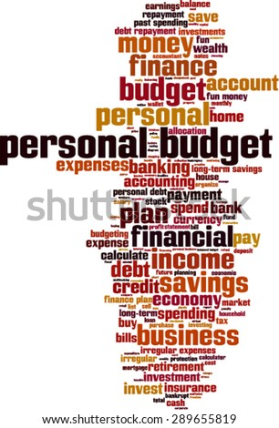 Personal budget word cloud concept. Vector illustration