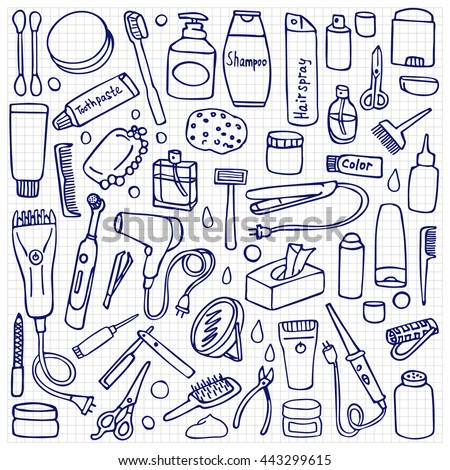 Personal care set on white background. Hygiene and hair salon elements on squared paper