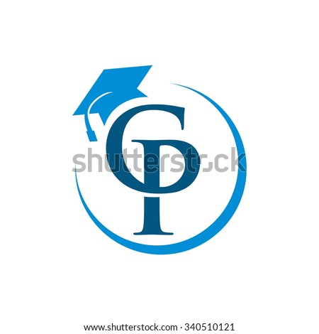Personal Center College, C P initial Logo Template - stock vector