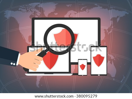 Personal computer, laptop notebook, tablet and smart phone with safe gard protect any virus on world map background. Vector illustration business computer security and data privacy technology concept. - stock vector