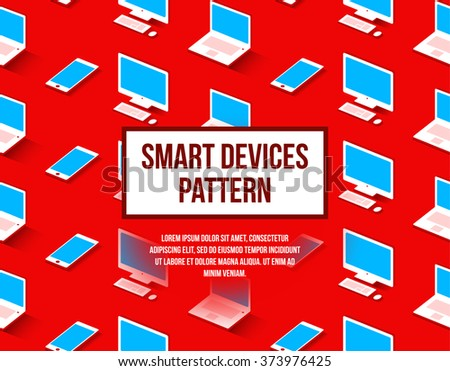 Personal computer, laptop, phone seamless flat pattern for background with 3d effect. Material design - stock vector