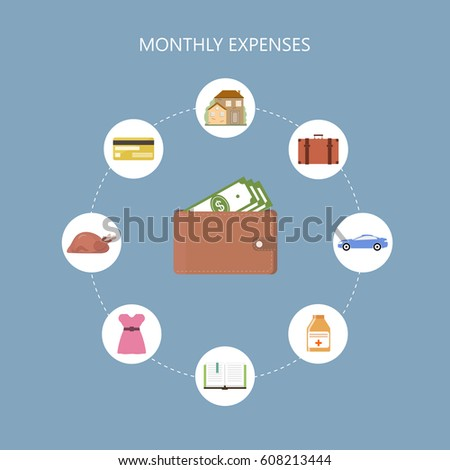 personal finance concept monthly expenses backgroundのベクター画像