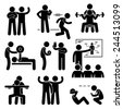 Personal Gym Coach Trainer Instructor Exercise Workout Stick Figure Pictogram Icons - stock vector