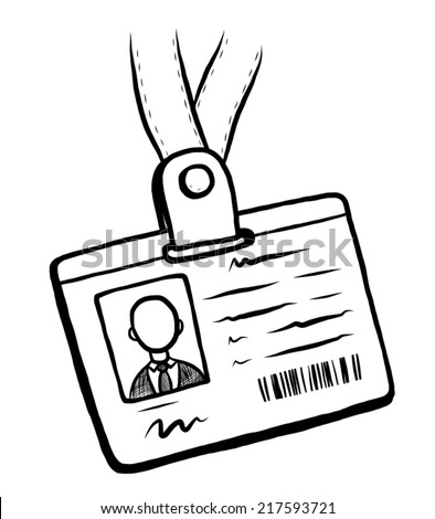 personal ID card / cartoon vector and illustration, black and white, hand drawn, sketch style, isolated on white background. - stock vector