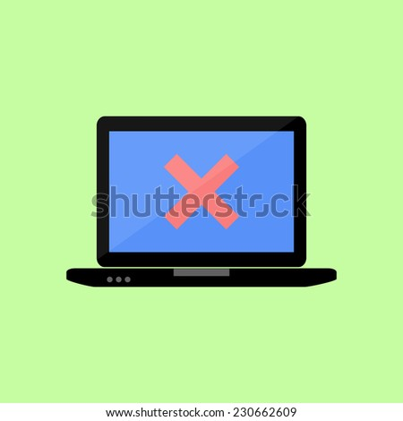 Personal laptop with red cross as error icon in flat style - stock vector
