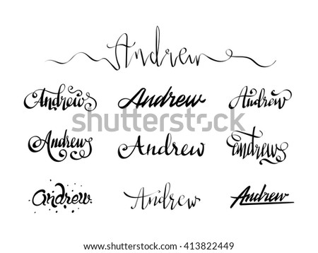 Personal name Andrew. Vector handwritten calligraphy set. Handmade lettering collection - stock vector