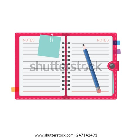 Personal organizer, diary or notebook - stock vector