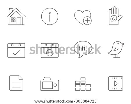 Personal portfolio website icons in thin outlines.  - stock vector