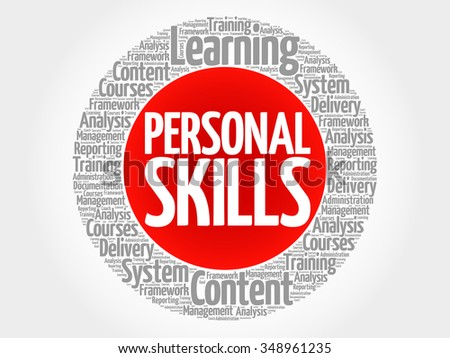 Personal Skills circle word cloud, business concept - stock vector