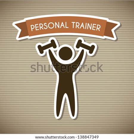 personal trainer over brown background. vector illustration - stock vector