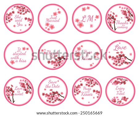 Personalized Candy Sticker Labels with sakura  big set - perfect addition to wedding or party favors - stock vector