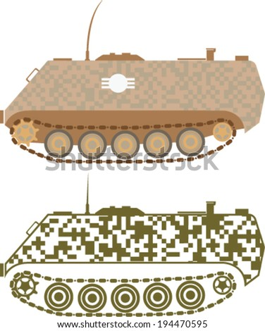 Personnel Carrier Military Vector - stock vector