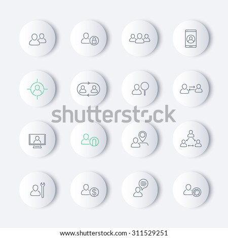 Personnel, Human resources, HR, management, thin line round modern icons, vector illustration, eps10, easy to edit - stock vector