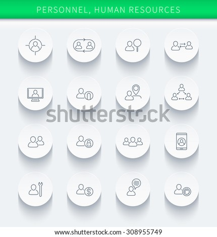 Personnel, Human resources, HR, staff, thin linear round icons, vector illustration, eps10, easy to edit - stock vector