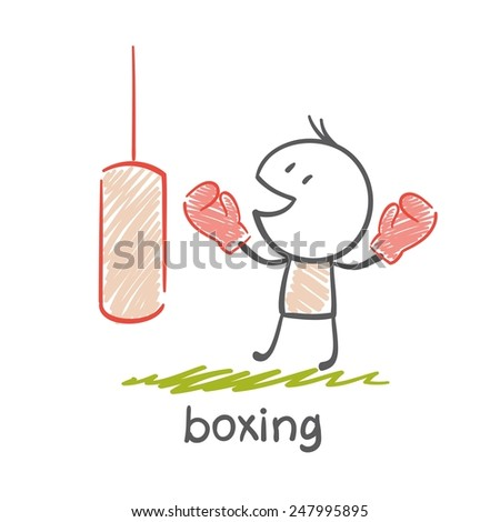 persons engaged in boxing illustration - stock vector