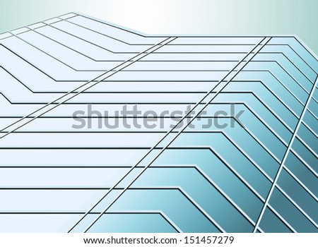 Perspective blue glass of building vector background - stock vector