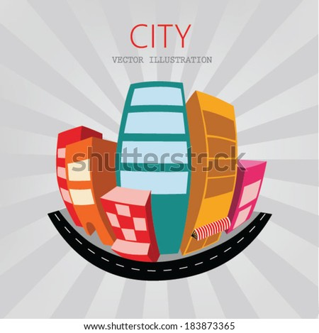 Perspective building illustration - stock vector