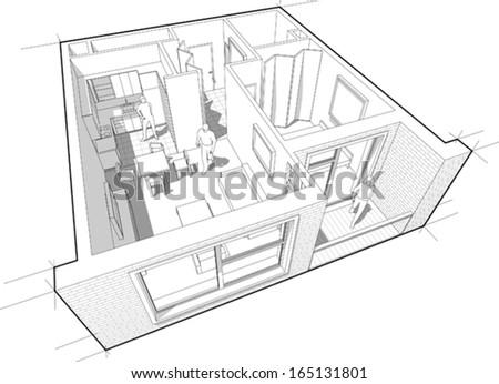 Perspective cut-away diagram of a 1-bedroom apartment, completely furnished - stock vector