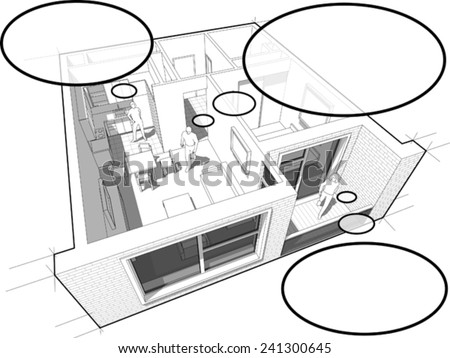 Perspective cut-away diagram of a 1-bedroom apartment, completely furnished with people with comic thought bubbles - stock vector