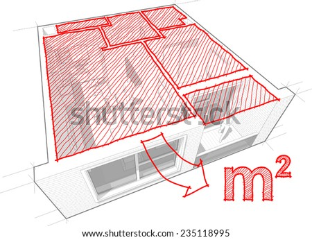 Perspective cut-away diagram of a 1-bedroom apartment, completely furnished with red hand drawn architectural floor area sketch - stock vector
