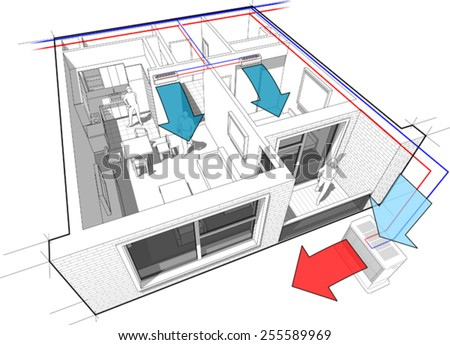 Perspective cut-away diagram of a 1-bedroom apartment, completely furnished with 2x indoor wall air conditioner and central external unit situated outside