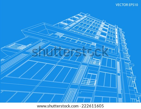 Perspective 3D building wireframe - Vector illustration  - stock vector