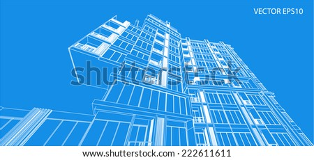 Perspective 3D building wireframe - Vector illustration