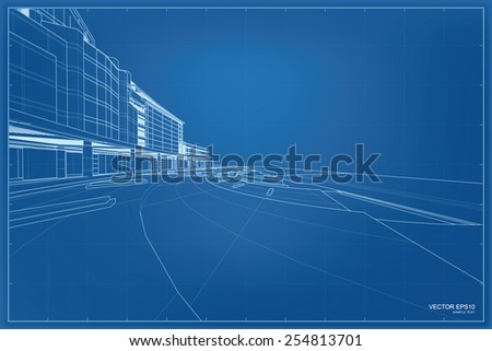 Perspective 3 d render building wireframe vector stock vector perspective 3d render of building wireframe vector blueprint background malvernweather Choice Image