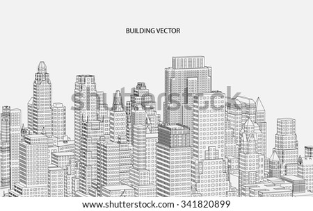 Perspective 3d Wireframe of City View - stock vector
