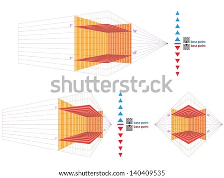 Perspective grid for vector artists - stock vector