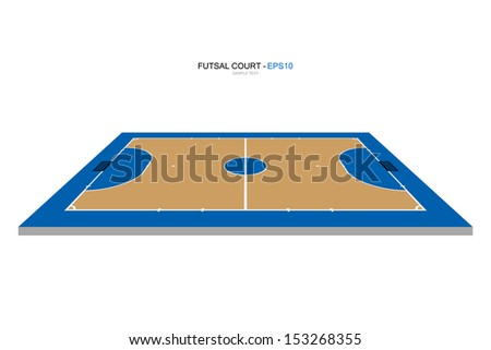 Perspective view of futsal court - Vector illustration - stock vector