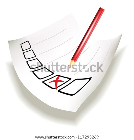 Perspective view of paper with row of checkboxes and red cross done by pencil - stock vector