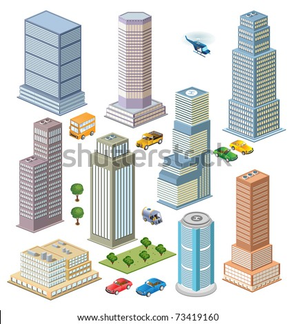 Perspective view of the city's skyline to transport and trees - stock vector
