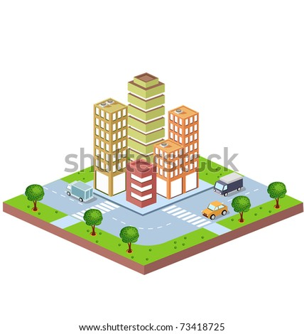 perspective view of the urban district of the city with buildings and vehicles - stock vector
