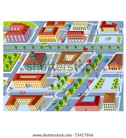 Perspective view of the urban neighborhoods of the city with buildings and vehicles - stock vector