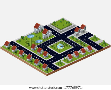 Perspective view of the village houses  - stock vector