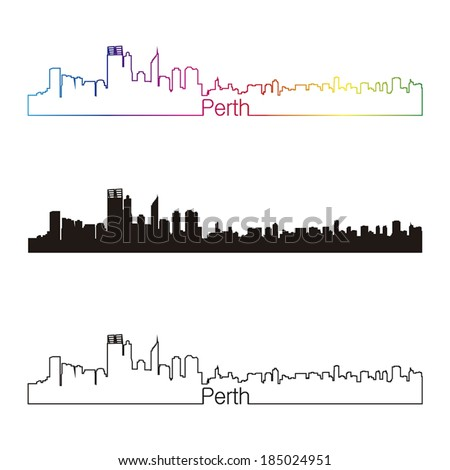 Perth skyline linear style with rainbow in editable vector file
